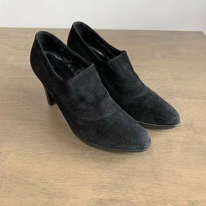 Aquatalia | Black Suede Heel Ankle Bootie